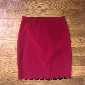 Red Scallop Skirt / Date Night or Work Skirt